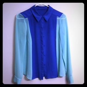 Blue and teal blouse